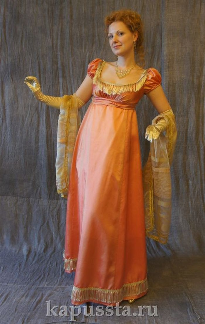 Orange dress with stole