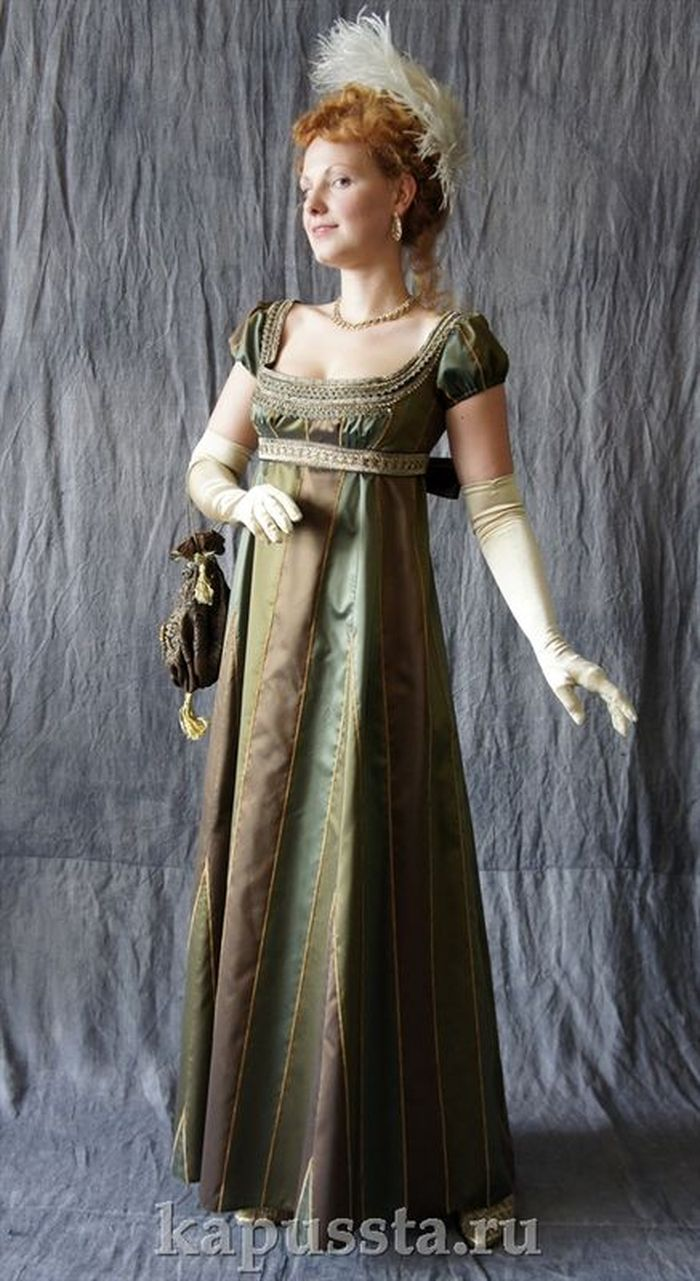 Dress with bronze trim