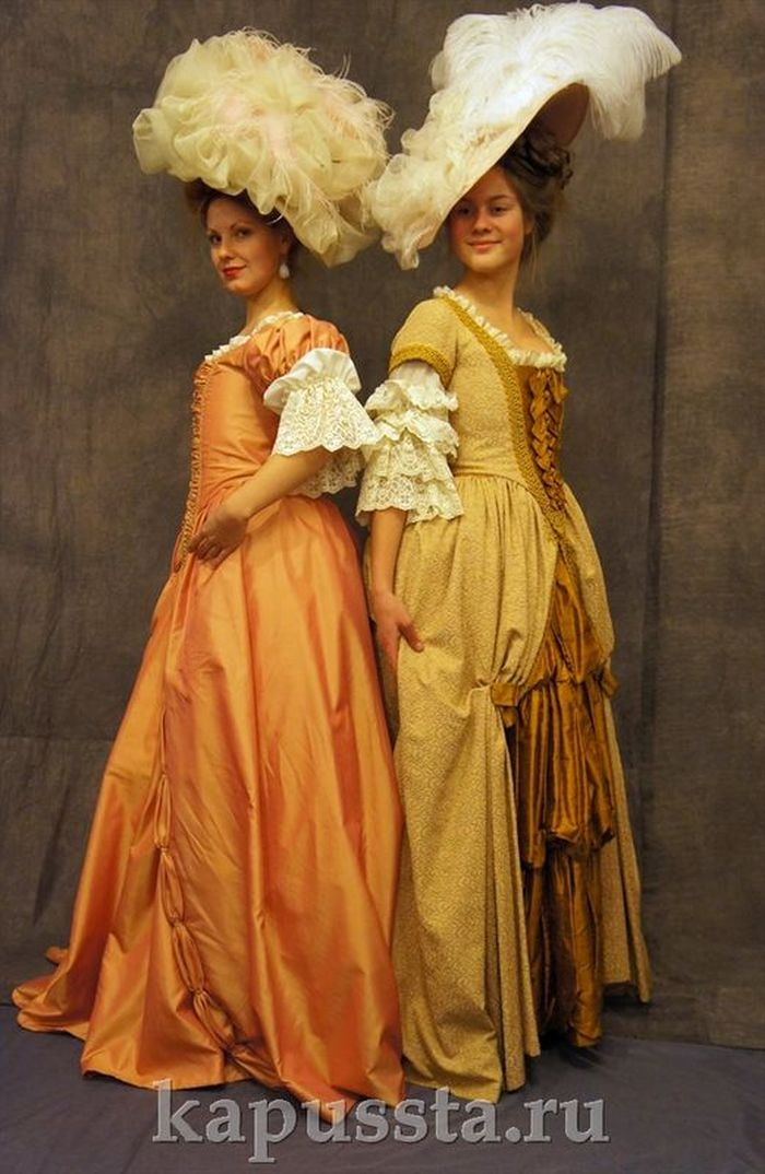 Baroque dresses with hats