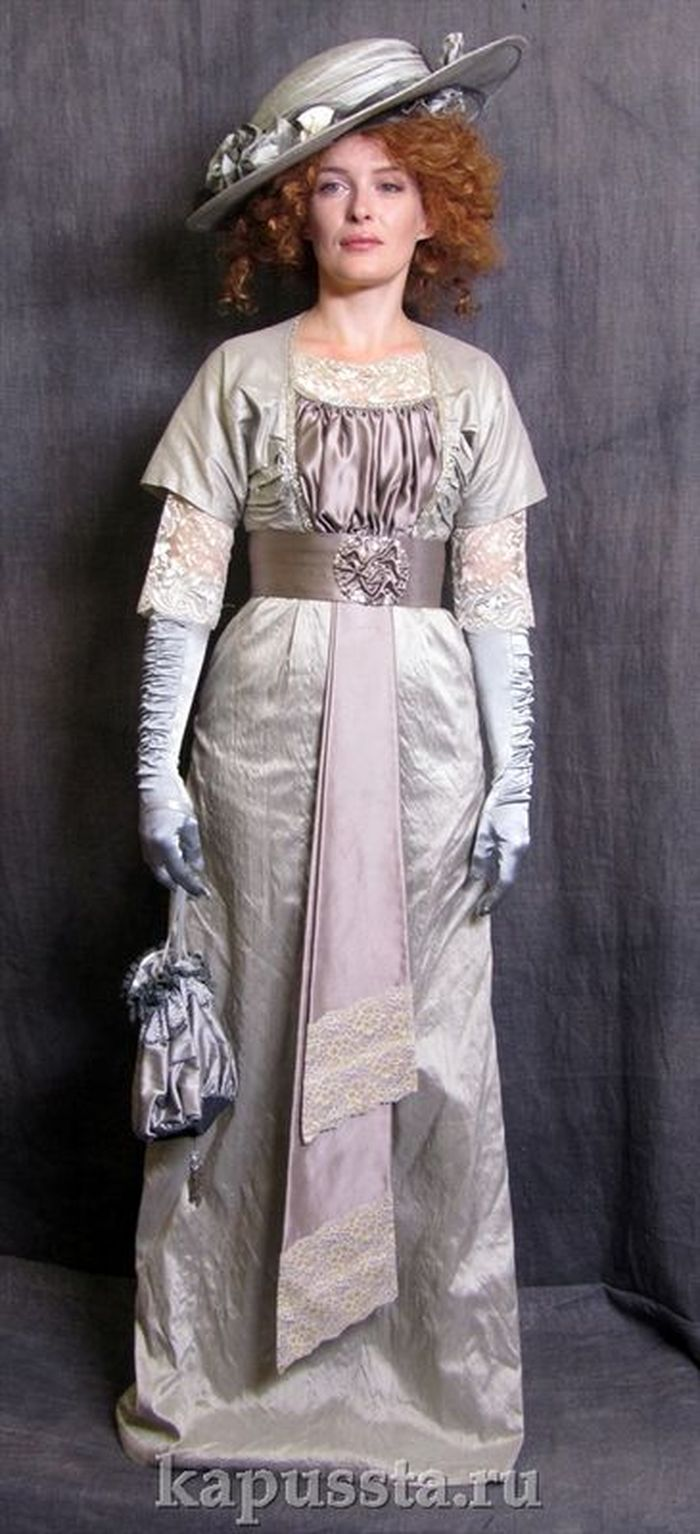Dress gray silk with accessories