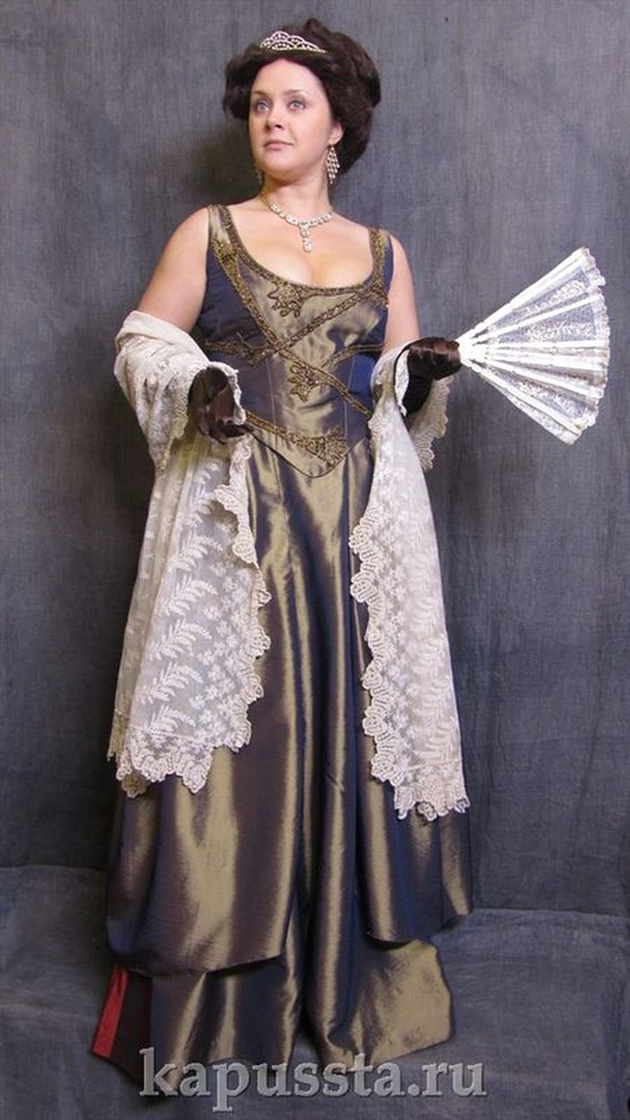 Dress with stole and fan