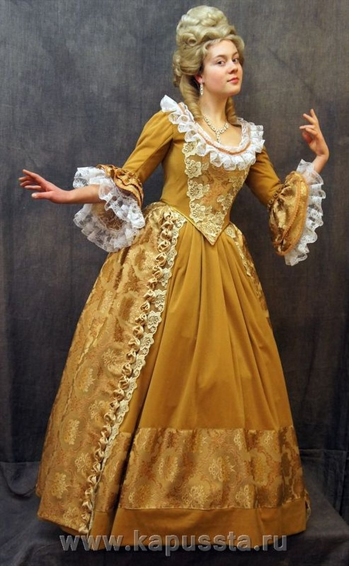 Yellow velvet dress with lace
