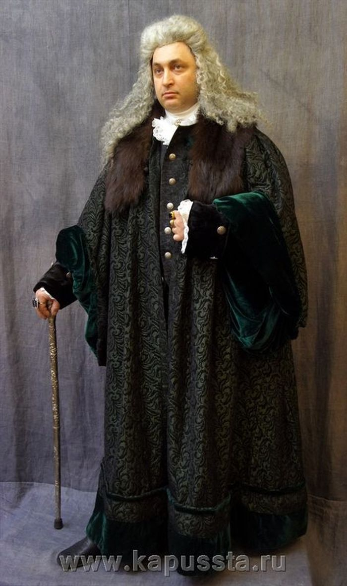 Mantle with wig and cane