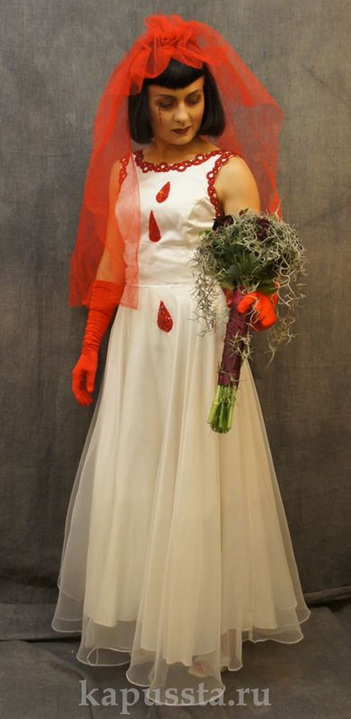 The costume of a bloody bride