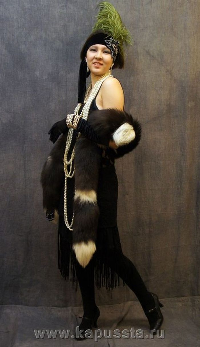 Dress with pearls and fur boa