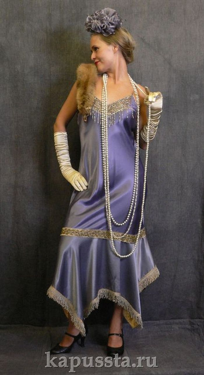 Lilac dress with pearls