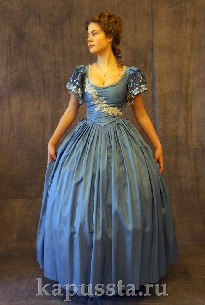 Blue dress on crinoline