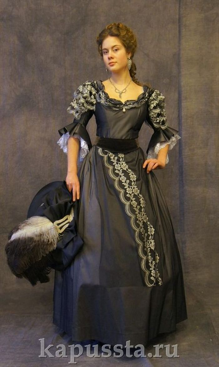 Dark gray dress on crinoline