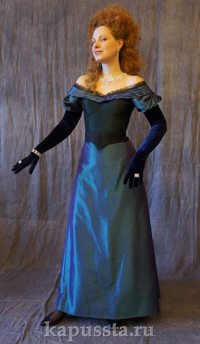 Dress with velvet gloves