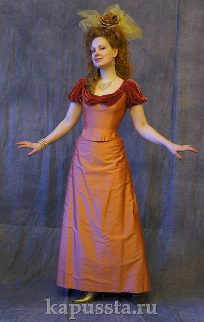Taffeta dress with velvet trim