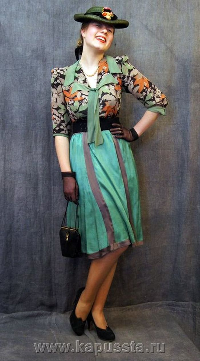 Combined green dress of the forties