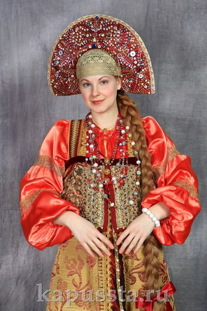 Russian costume in a smart kokoshnik