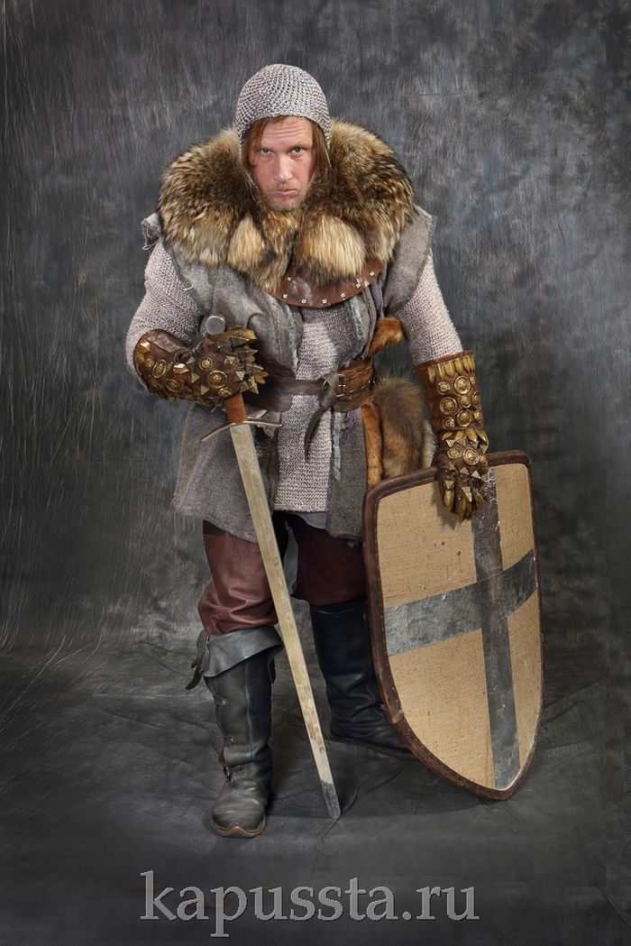 Viking warrior costume with sword and shield
