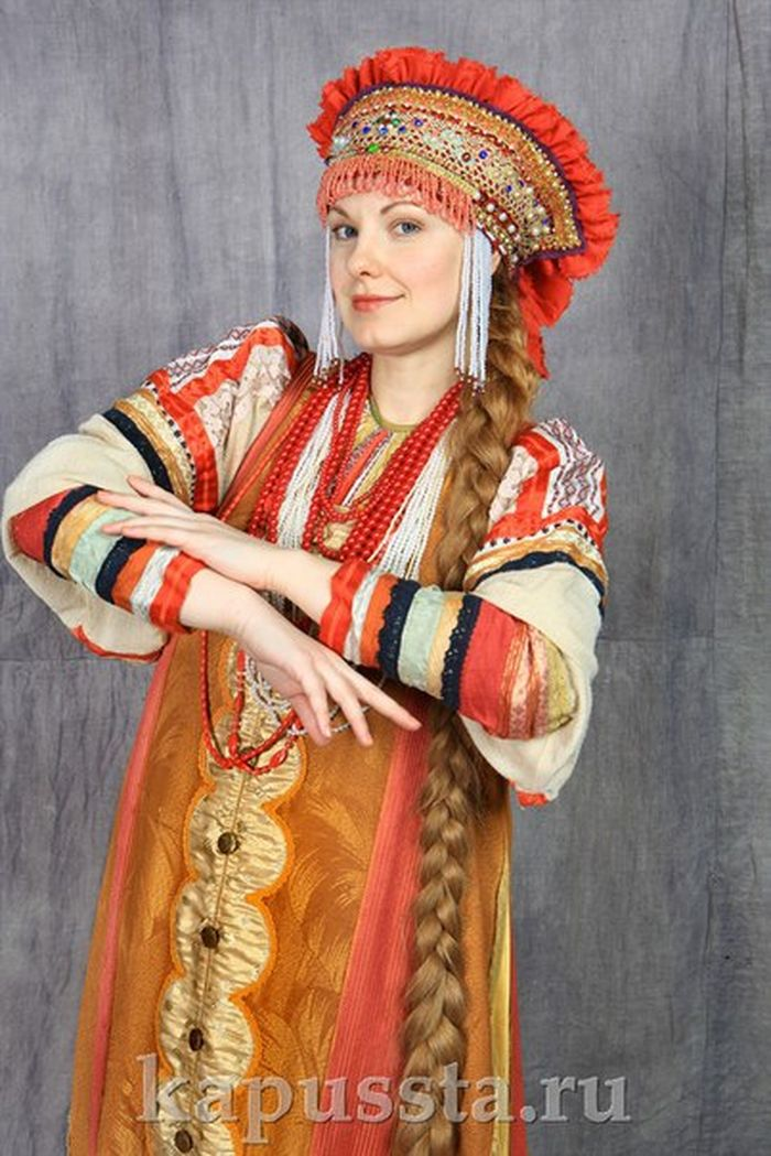 Russian fancy dress in kokoshnik